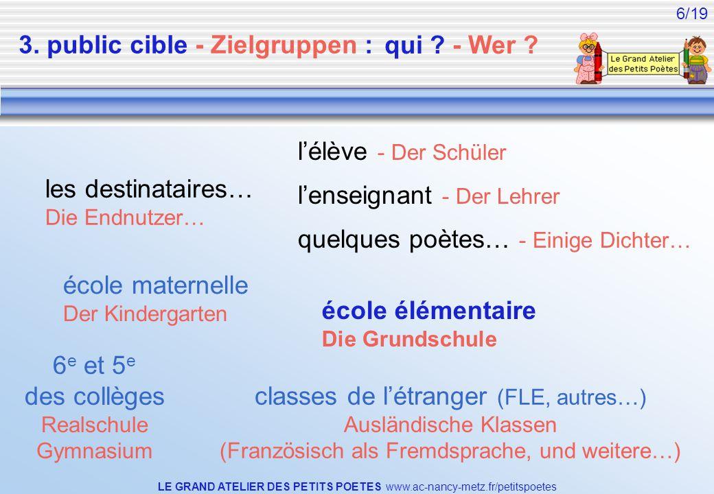 LE GRAND ATELIER DES PETITS POETES www.ac-nancy-metz.fr/petitspoetes 6/19 3. public cible - Zielgruppen : les destinataires… Die Endnutzer… lélève - D