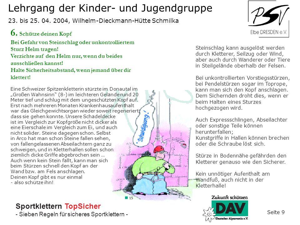 Sportklettern TopSicher - Sieben Regeln für sicheres Sportklettern - Lehrgang der Kinder- und Jugendgruppe 23.