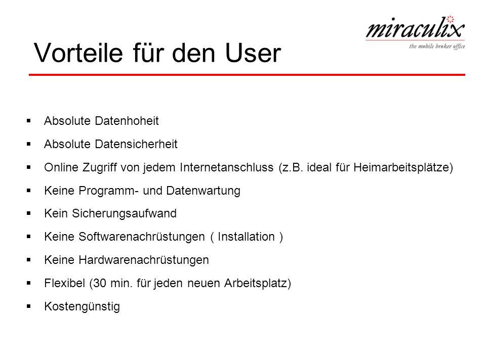 Vorteile für den User Absolute Datenhoheit Absolute Datensicherheit Online Zugriff von jedem Internetanschluss (z.B. ideal für Heimarbeitsplätze) Kein