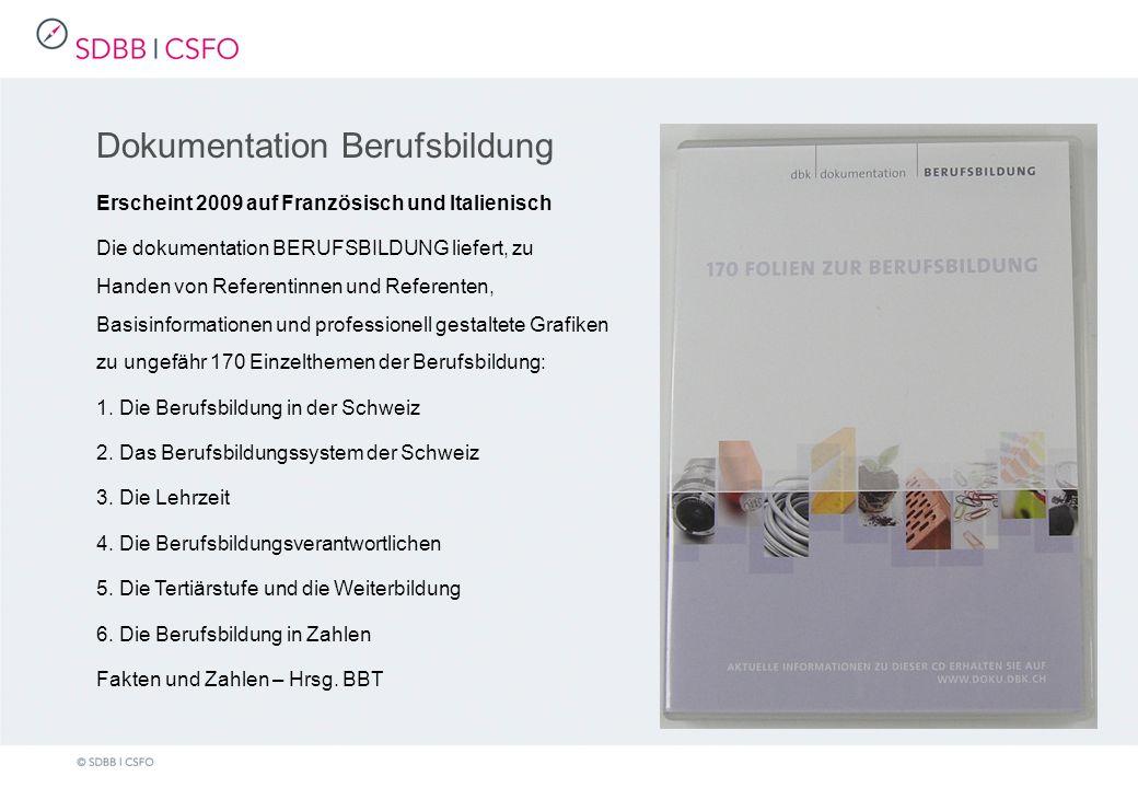 Dokumentation Berufsbildung Erscheint 2009 auf Französisch und Italienisch Die dokumentation BERUFSBILDUNG liefert, zu Handen von Referentinnen und Referenten, Basisinformationen und professionell gestaltete Grafiken zu ungefähr 170 Einzelthemen der Berufsbildung: 1.