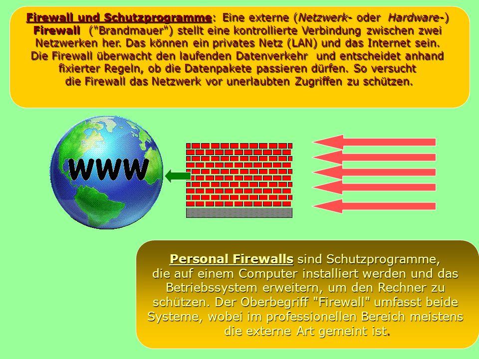 Firewall und Schutzprogramme: Eine externe (Netzwerk- oder Hardware-) Firewall ( Brandmauer ) stellt eine kontrollierte Verbindung zwischen zwei Netzwerken her.