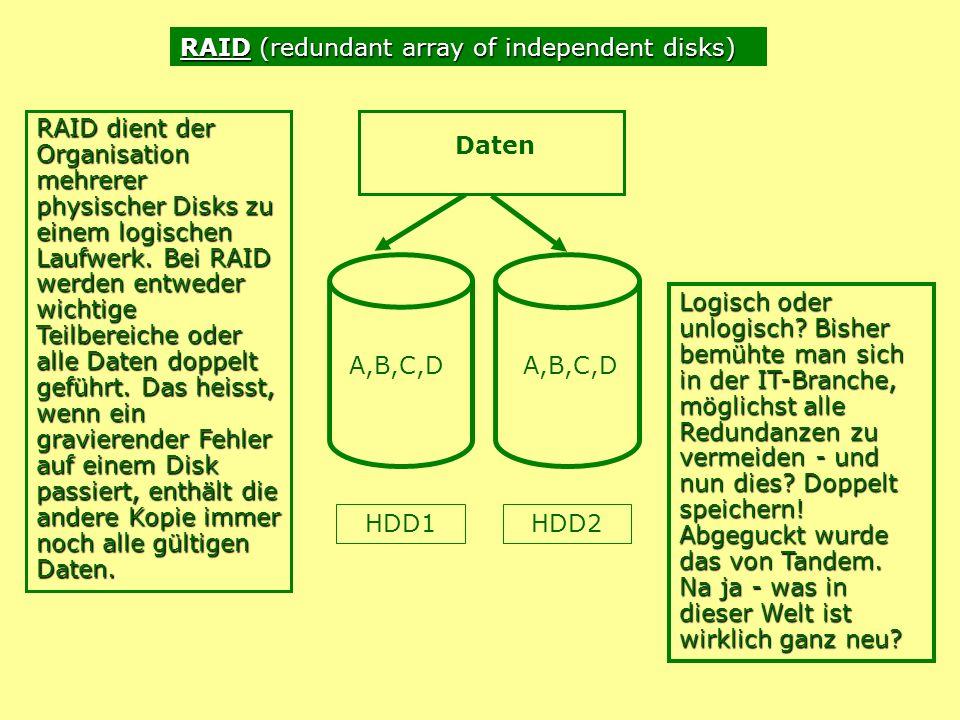 A,B,C,D HDD1 Daten HDD2 RAID dient der Organisation mehrerer physischer Disks zu einem logischen Laufwerk.