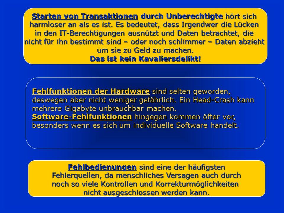 Interne Gefahren Fehlfunktionen der Hardware Fehlfunktionen der Hardware (Festplatte) (Festplatte) Fehlfunktion der Software Fehlfunktion der Software