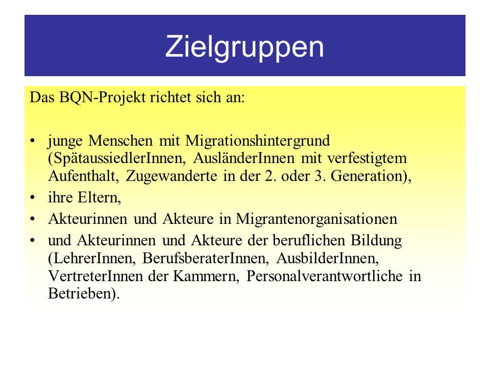 Zielgruppen Das BQN-Projekt richtet sich an: junge Menschen mit Migrationshintergrund (SpätaussiedlerInnen, AusländerInnen mit verfestigtem Aufenthalt, Zugewanderte in der 2.