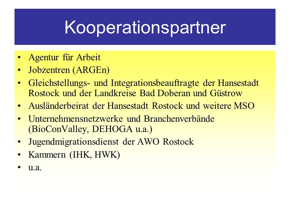 Kooperationspartner Agentur für Arbeit Jobzentren (ARGEn) Gleichstellungs- und Integrationsbeauftragte der Hansestadt Rostock und der Landkreise Bad D