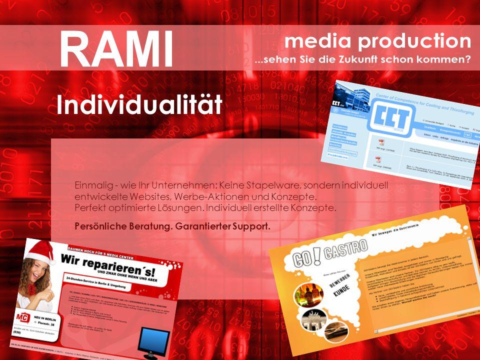 TELEFON 0711 – 50 50 33 6 EMAIL info@rami-media.de INTERNET www.rami-media.de SUCHMASCHINENOPTIMIERUNG | INTERNET-AUFTRITTE WERBUNG | PRINTMEDIEN | DESIGN | PROGRAMMIERUNG .