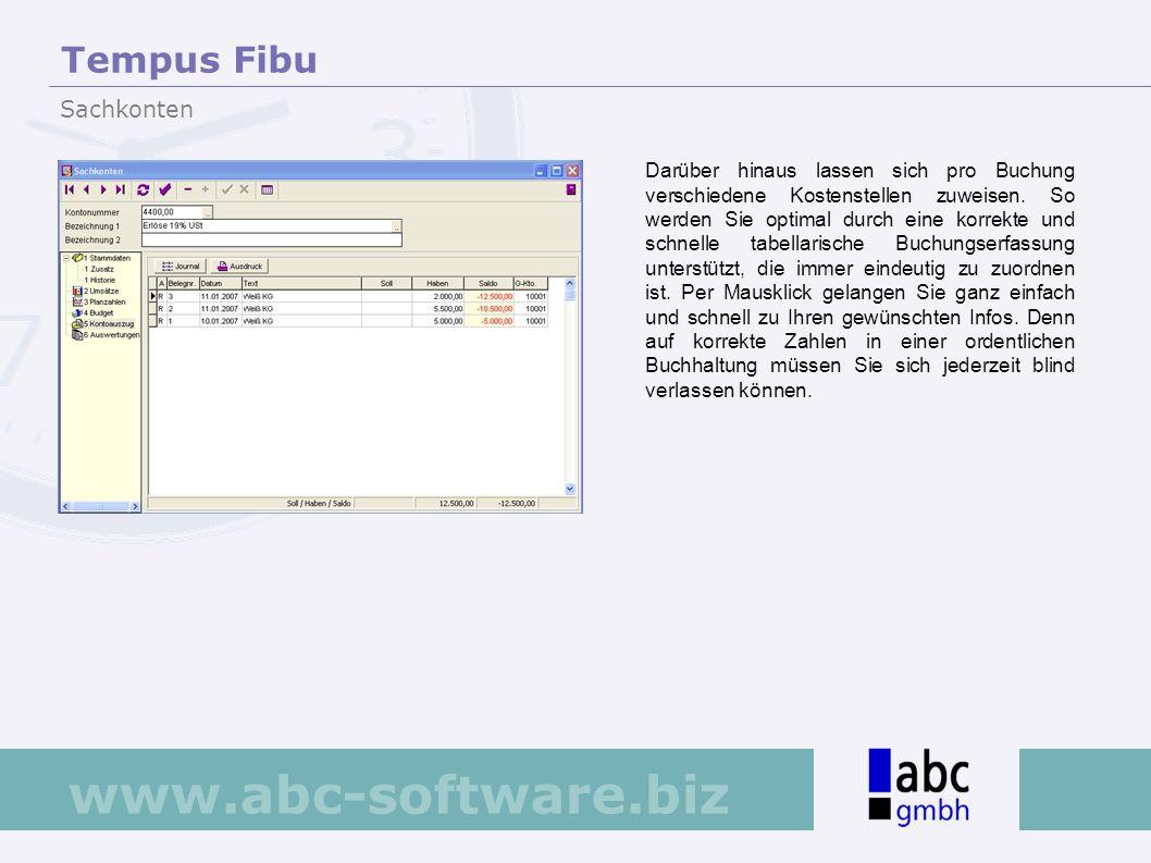www.abc-software.biz Darüber hinaus lassen sich pro Buchung verschiedene Kostenstellen zuweisen. So werden Sie optimal durch eine korrekte und schnell