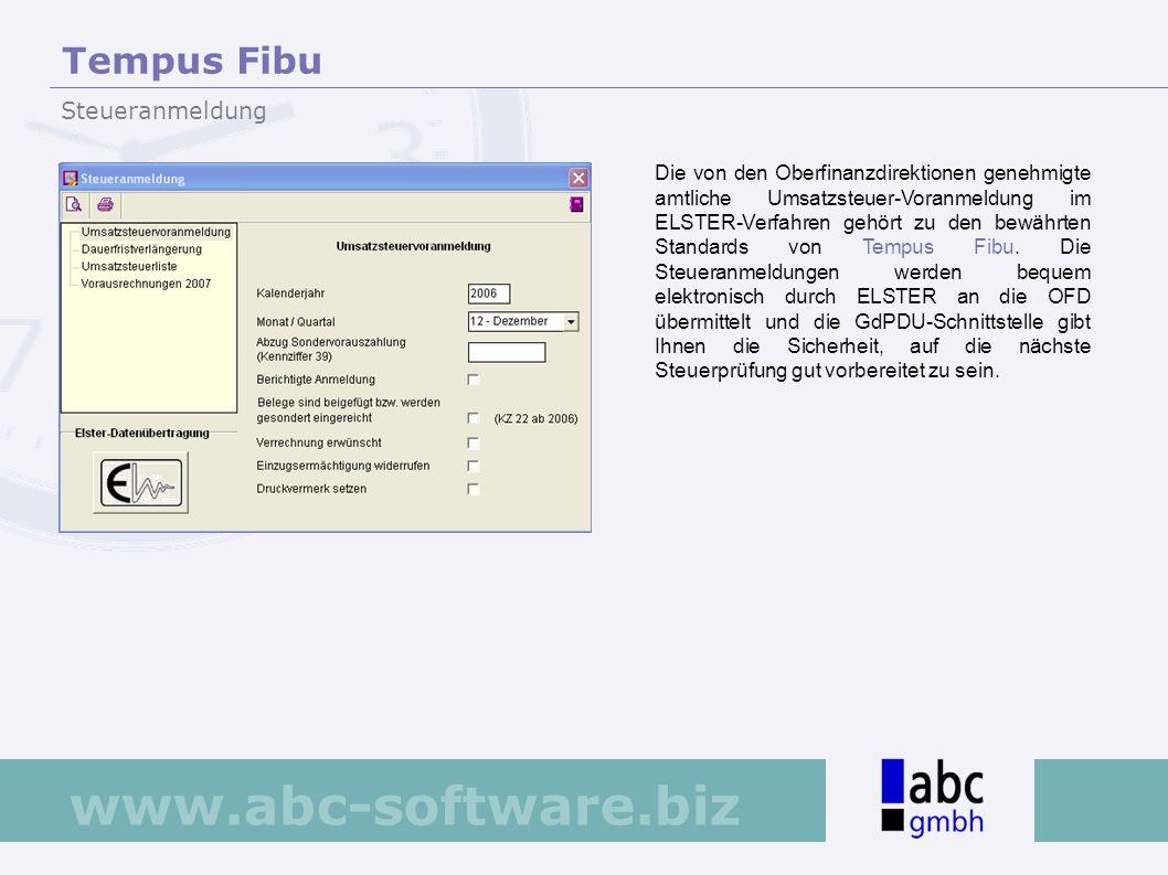 www.abc-software.biz Die von den Oberfinanzdirektionen genehmigte amtliche Umsatzsteuer-Voranmeldung im ELSTER-Verfahren gehört zu den bewährten Stand