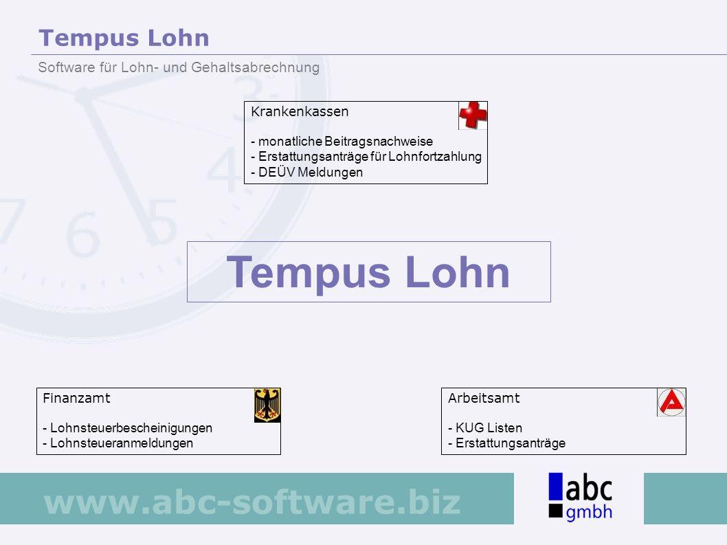 www.abc-software.biz Krankenkassen - monatliche Beitragsnachweise - Erstattungsanträge für Lohnfortzahlung - DEÜV Meldungen Finanzamt - Lohnsteuerbesc