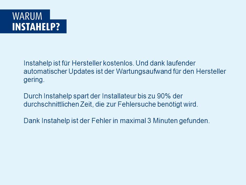 Instahelp ist für Hersteller kostenlos.