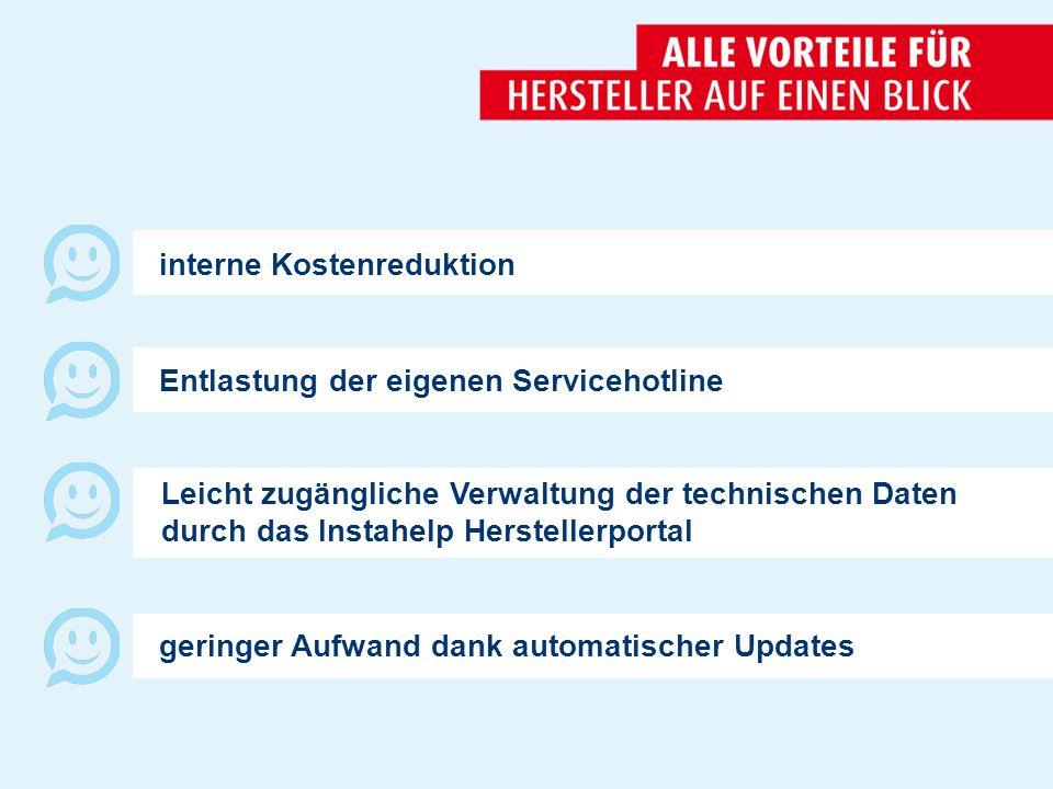 Entlastung der eigenen Servicehotline interne Kostenreduktion geringer Aufwand dank automatischer Updates Leicht zugängliche Verwaltung der technischen Daten durch das Instahelp Herstellerportal