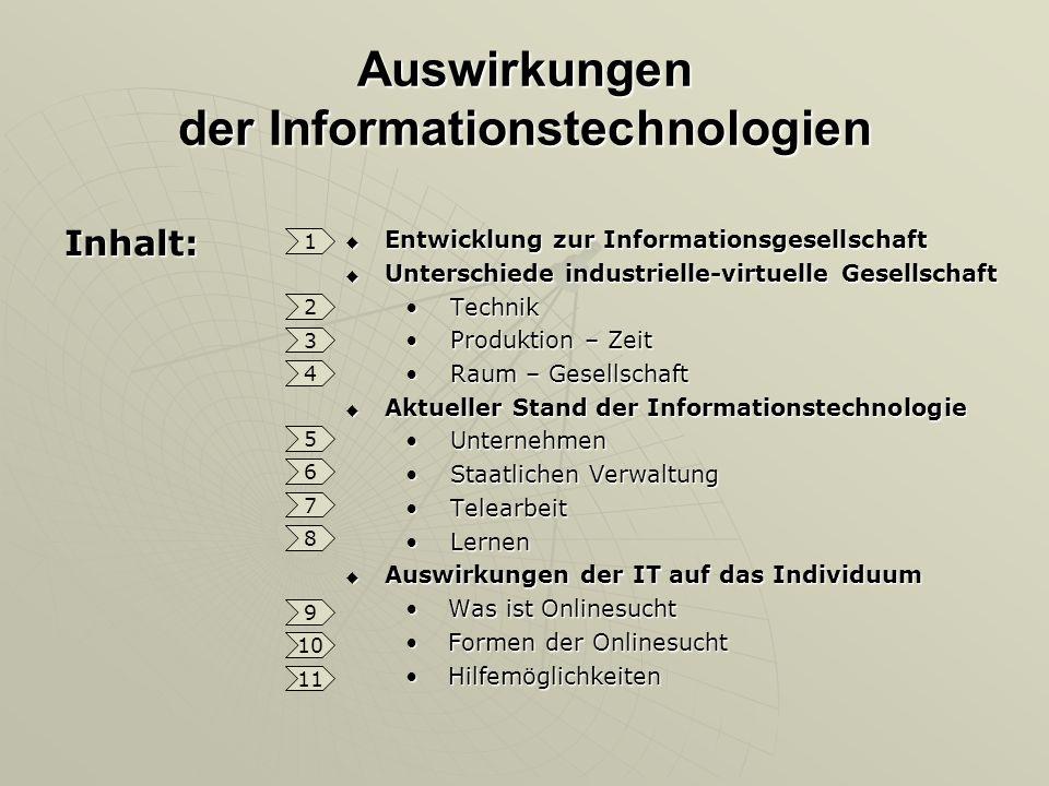 Auswirkungen der Informationstechnologien Inhalt: Entwicklung zur Informationsgesellschaft Entwicklung zur Informationsgesellschaft Unterschiede indus