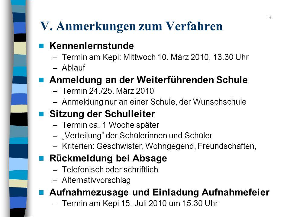 14 V. Anmerkungen zum Verfahren Kennenlernstunde –Termin am Kepi: Mittwoch 10. März 2010, 13.30 Uhr –Ablauf Anmeldung an der Weiterführenden Schule –T
