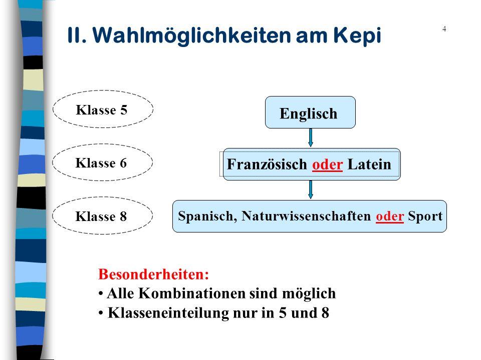 4 II. Wahlmöglichkeiten am Kepi Englisch Französisch oder Latein Spanisch, Naturwissenschaften oder Sport Klasse 5Klasse 8Klasse 6 Besonderheiten: All