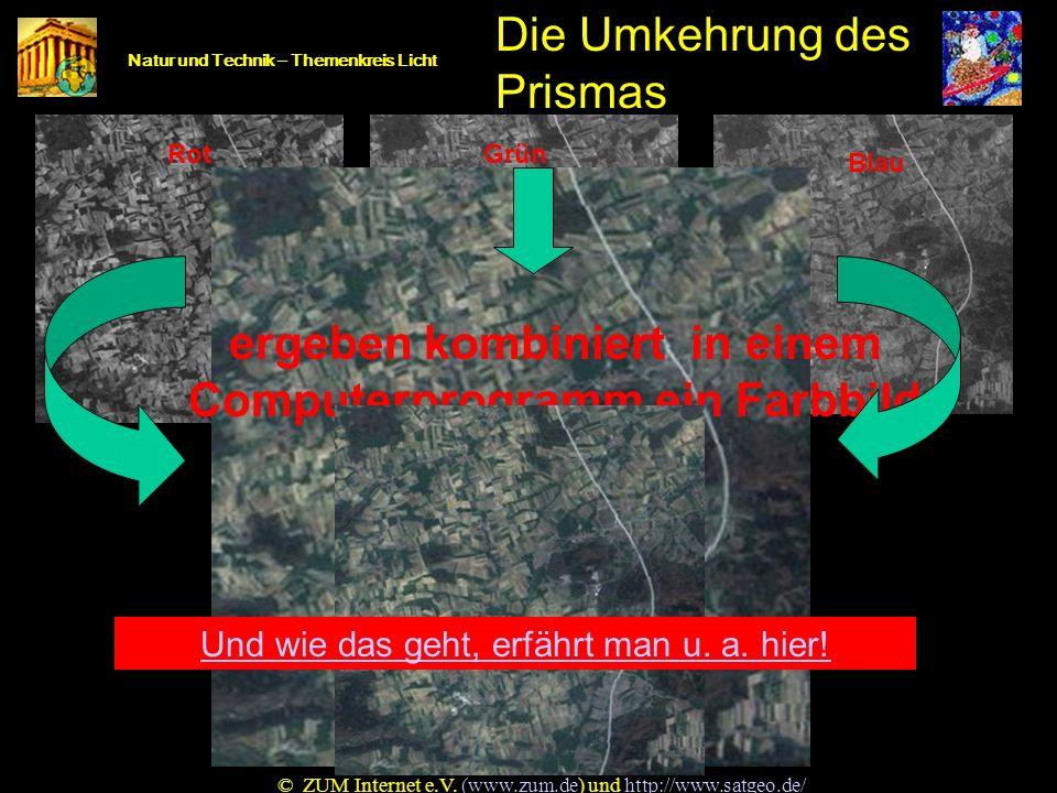 Auch Satelliten sehen anders Natur und Technik – Themenkreis Licht Auch Satelliten sehen anders! MIR 1 BlauGrün Rot Nahes Infrarot MIR 2 © ZUM Interne