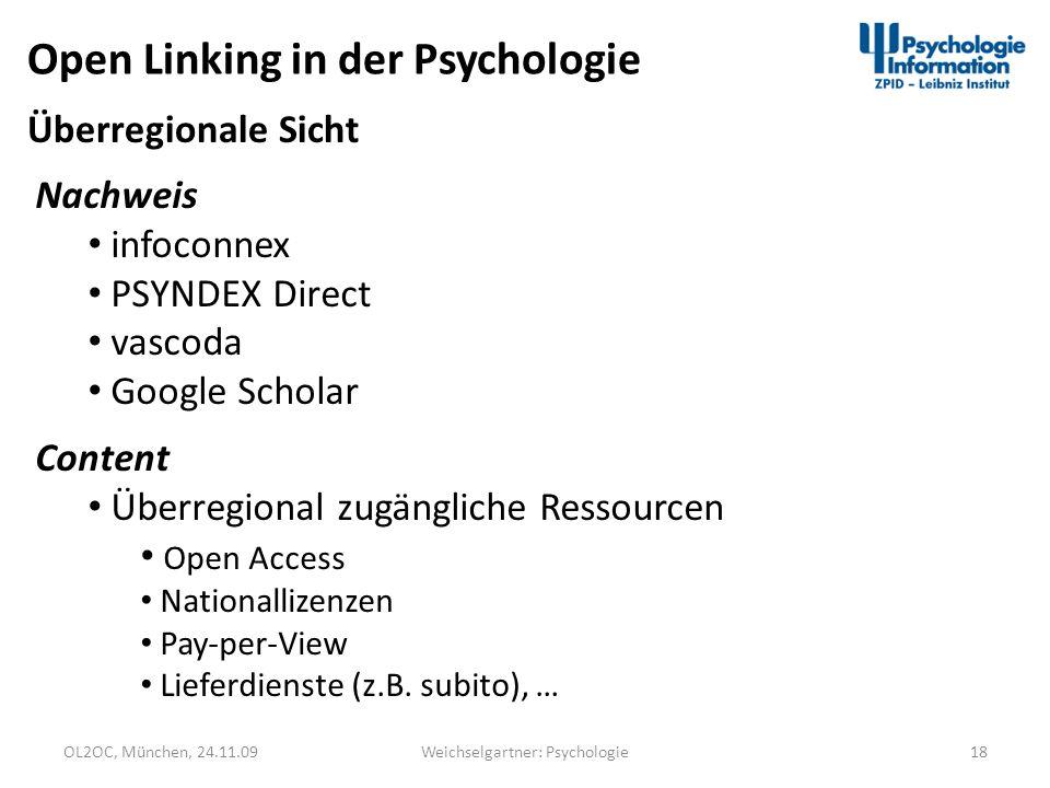 OL2OC, München, 24.11.0918Weichselgartner: Psychologie Open Linking in der Psychologie Nachweis infoconnex PSYNDEX Direct vascoda Google Scholar Conte