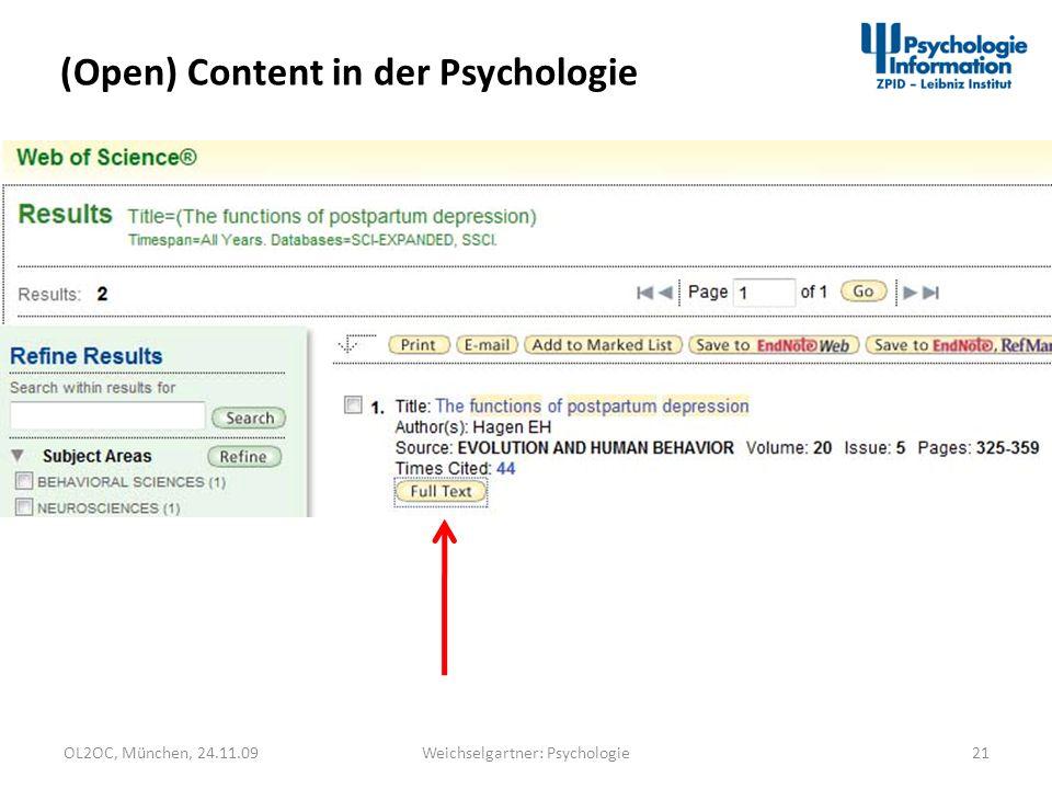 OL2OC, München, 24.11.0921Weichselgartner: Psychologie (Open) Content in der Psychologie