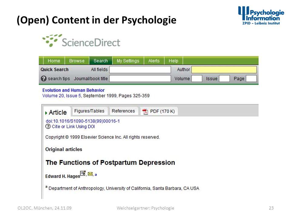 OL2OC, München, 24.11.0923Weichselgartner: Psychologie (Open) Content in der Psychologie