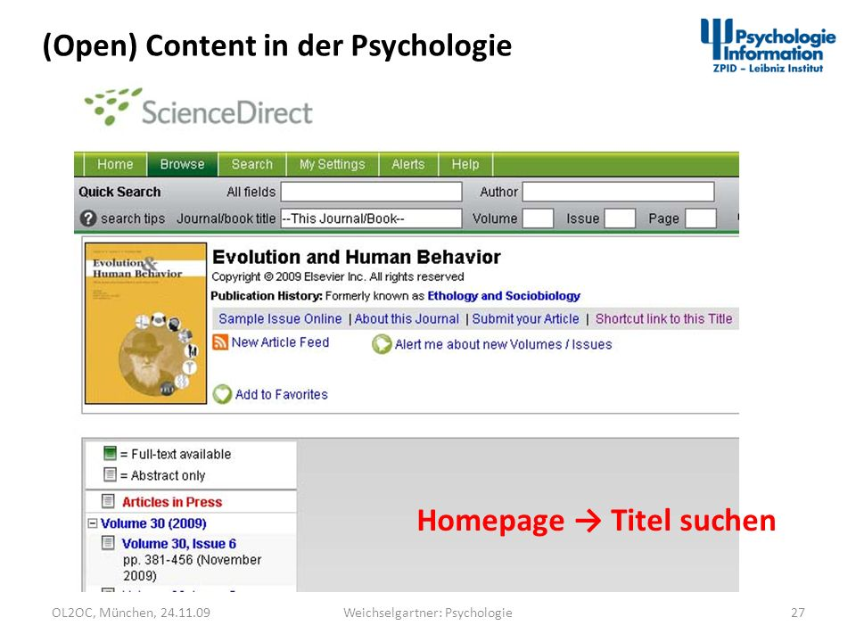 OL2OC, München, 24.11.0927Weichselgartner: Psychologie (Open) Content in der Psychologie Homepage Titel suchen