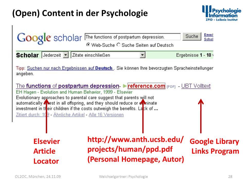 OL2OC, München, 24.11.0928Weichselgartner: Psychologie (Open) Content in der Psychologie Elsevier Article Locator http://www.anth.ucsb.edu/ projects/h
