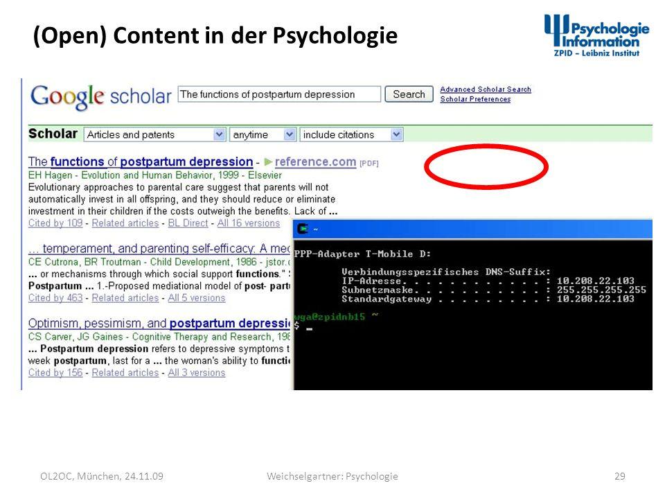 OL2OC, München, 24.11.0929Weichselgartner: Psychologie (Open) Content in der Psychologie