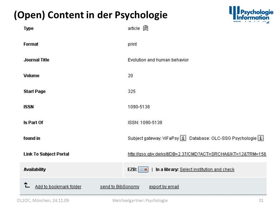OL2OC, München, 24.11.0931Weichselgartner: Psychologie (Open) Content in der Psychologie