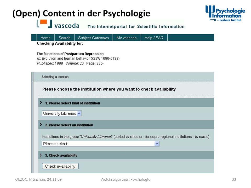 OL2OC, München, 24.11.0933Weichselgartner: Psychologie (Open) Content in der Psychologie