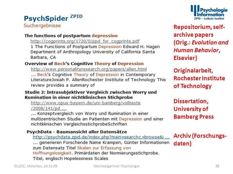 OL2OC, München, 24.11.0938Weichselgartner: Psychologie Dissertation, University of Bamberg Press Archiv (Forschungs- daten) Repositorium, self- archiv