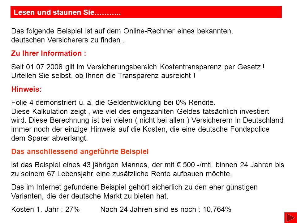Das folgende Beispiel ist auf dem Online-Rechner eines bekannten, deutschen Versicherers zu finden.