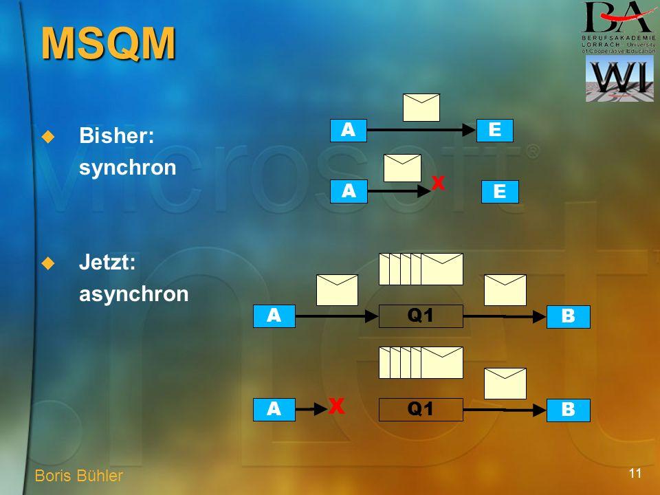 11 MSQM Bisher: synchron AE A E X Jetzt: asynchron A B Q1A B X Boris Bühler