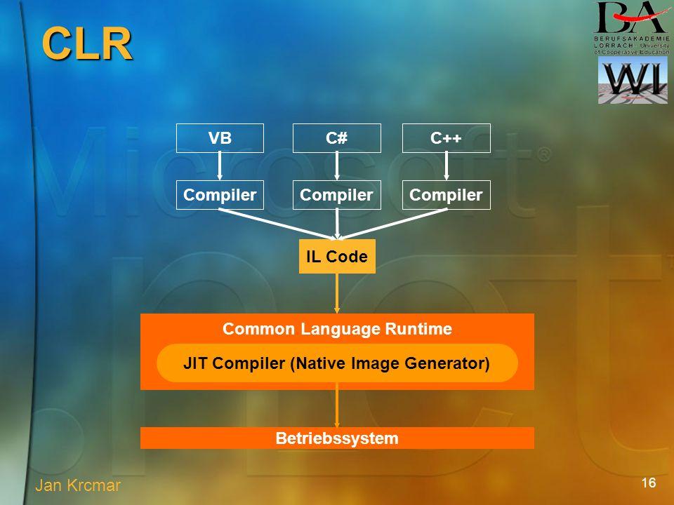 16 VB Compiler C# Compiler IL Code C++ Compiler JIT Compiler (Native Image Generator) Common Language Runtime Betriebssystem Jan Krcmar CLR