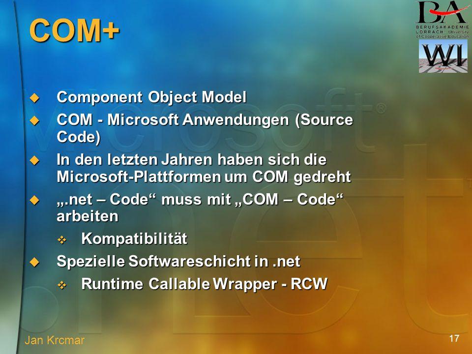 17 Component Object Model Component Object Model COM - Microsoft Anwendungen (Source Code) COM - Microsoft Anwendungen (Source Code) In den letzten Jahren haben sich die Microsoft-Plattformen um COM gedreht In den letzten Jahren haben sich die Microsoft-Plattformen um COM gedreht.net – Code muss mit COM – Code arbeiten.net – Code muss mit COM – Code arbeiten Kompatibilität Kompatibilität Spezielle Softwareschicht in.net Spezielle Softwareschicht in.net Runtime Callable Wrapper - RCW Runtime Callable Wrapper - RCW Jan Krcmar COM+