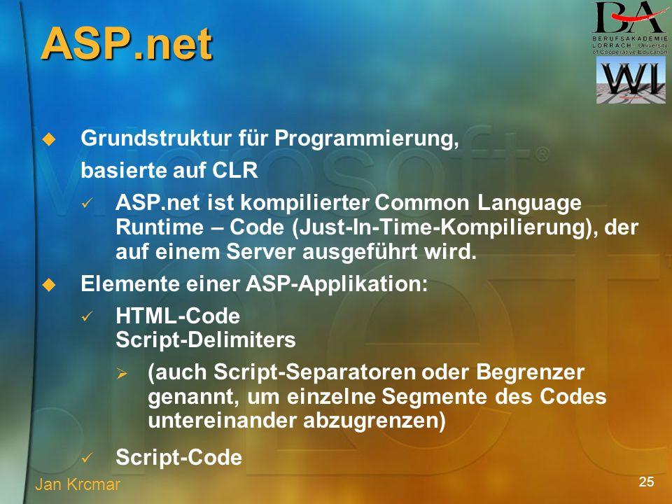 25 Grundstruktur für Programmierung, basierte auf CLR ASP.net ist kompilierter Common Language Runtime – Code (Just-In-Time-Kompilierung), der auf einem Server ausgeführt wird.