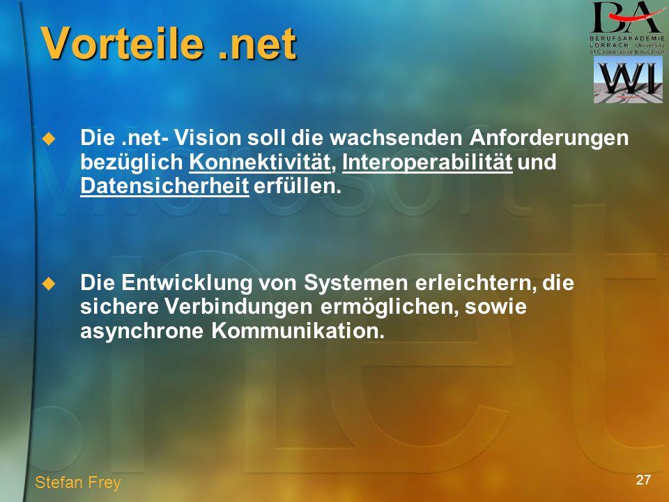 27 Vorteile.net Die.net- Vision soll die wachsenden Anforderungen bezüglich Konnektivität, Interoperabilität und Datensicherheit erfüllen.