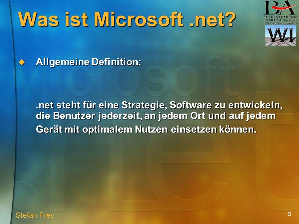 14 Die erste Schicht der.net Plattform Die erste Schicht der.net Plattform Der Kernel, der für den Zugriff auf die Befugnisse für Systemressourcen für alle Programme verantwortlich ist Der Kernel, der für den Zugriff auf die Befugnisse für Systemressourcen für alle Programme verantwortlich ist Laufzeitumgebung des.net Frameworks Laufzeitumgebung des.net Frameworks Unterstützt jede Programmiersprache die in.net integriert wurde Unterstützt jede Programmiersprache die in.net integriert wurde C, C++, C#, Java, Visual Basic......