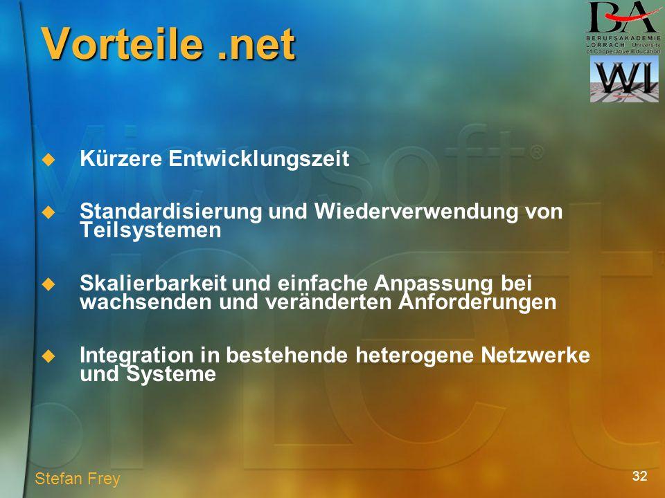 32 Vorteile.net Kürzere Entwicklungszeit Standardisierung und Wiederverwendung von Teilsystemen Skalierbarkeit und einfache Anpassung bei wachsenden und veränderten Anforderungen Integration in bestehende heterogene Netzwerke und Systeme Stefan Frey