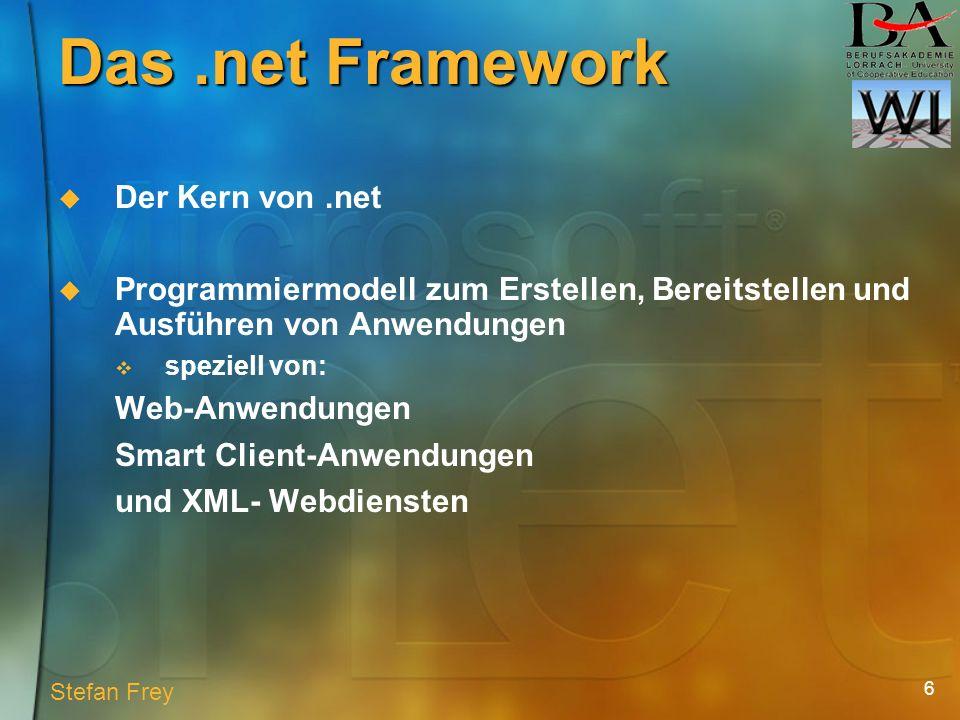 6 Das.net Framework Der Kern von.net Programmiermodell zum Erstellen, Bereitstellen und Ausführen von Anwendungen speziell von: Web-Anwendungen Smart Client-Anwendungen und XML- Webdiensten Stefan Frey