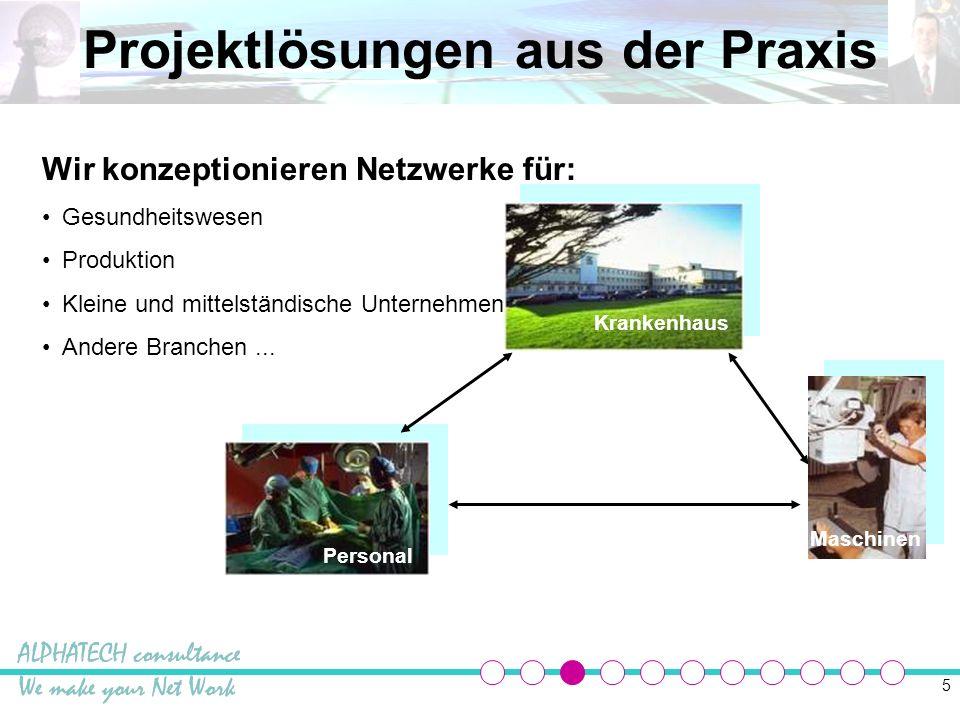 6 Projektlösungen aus der Praxis Produktion Externe Mitarbeiter Externes Büro Wir konzeptionieren Netzwerke für : Produktion Gesundheitswesen Kleine und mittelständische Unternehmen Andere Branchen...
