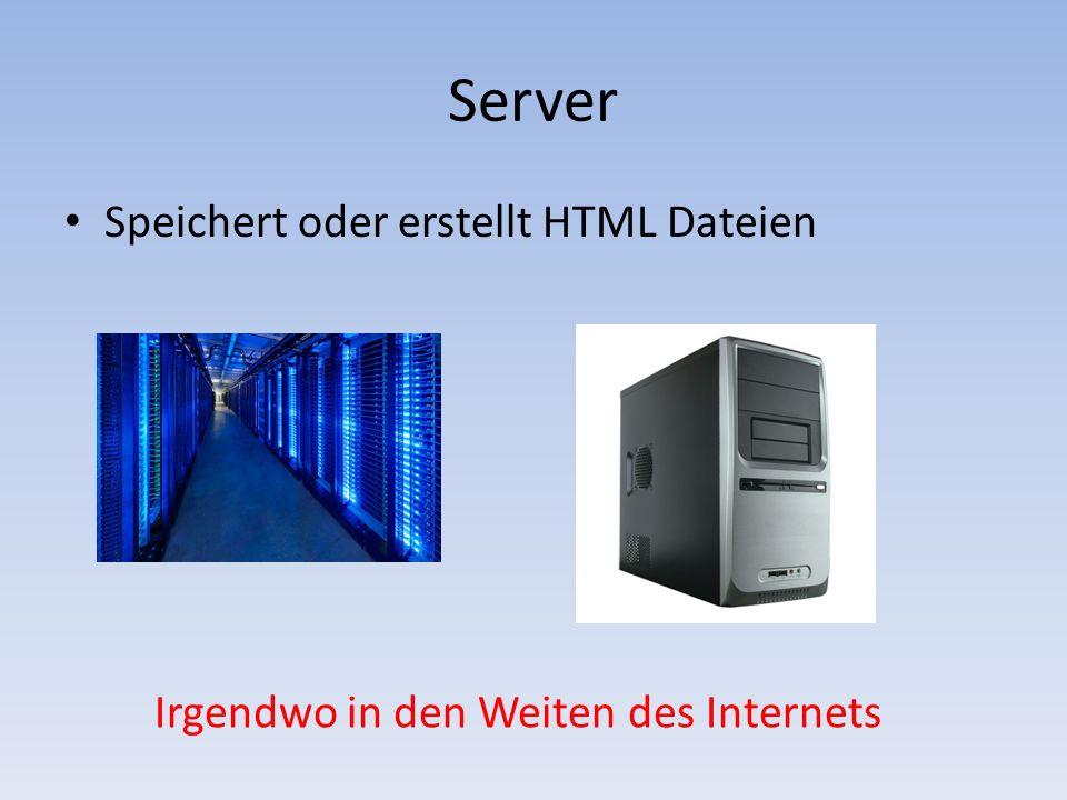 Server Speichert oder erstellt HTML Dateien Irgendwo in den Weiten des Internets