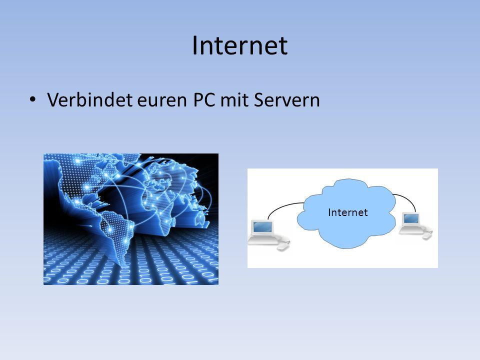 Internet Verbindet euren PC mit Servern Internet