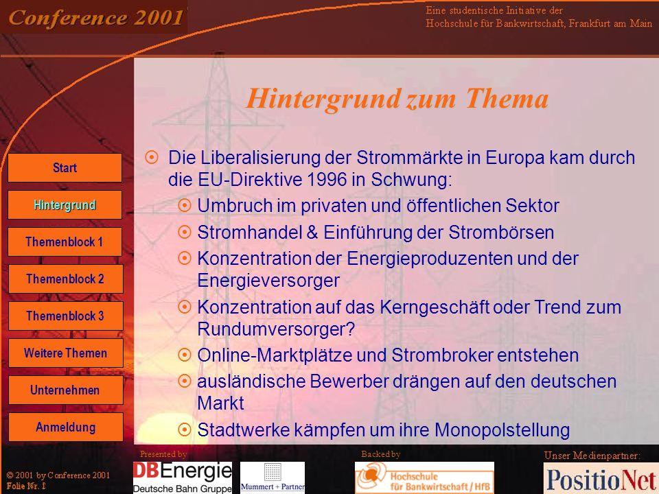 Backed by Folie Nr. 2 Presented by Hintergrund zum Thema Die Liberalisierung der Strommärkte in Europa kam durch die EU-Direktive 1996 in Schwung: Umb