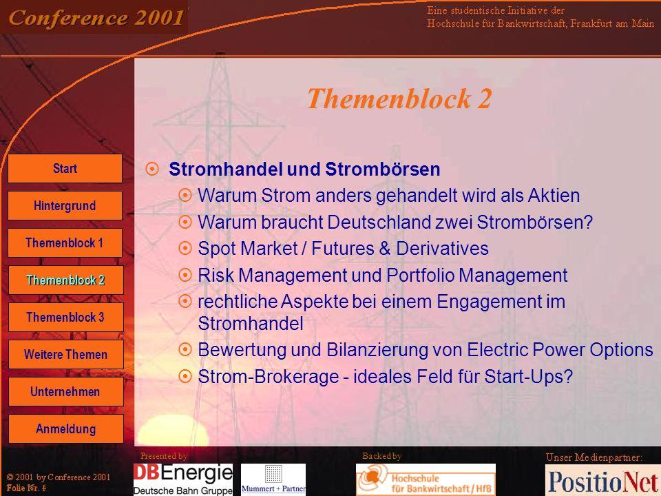 Backed by Folie Nr. 4 Presented by Themenblock 2 Stromhandel und Strombörsen Warum Strom anders gehandelt wird als Aktien Warum braucht Deutschland zw