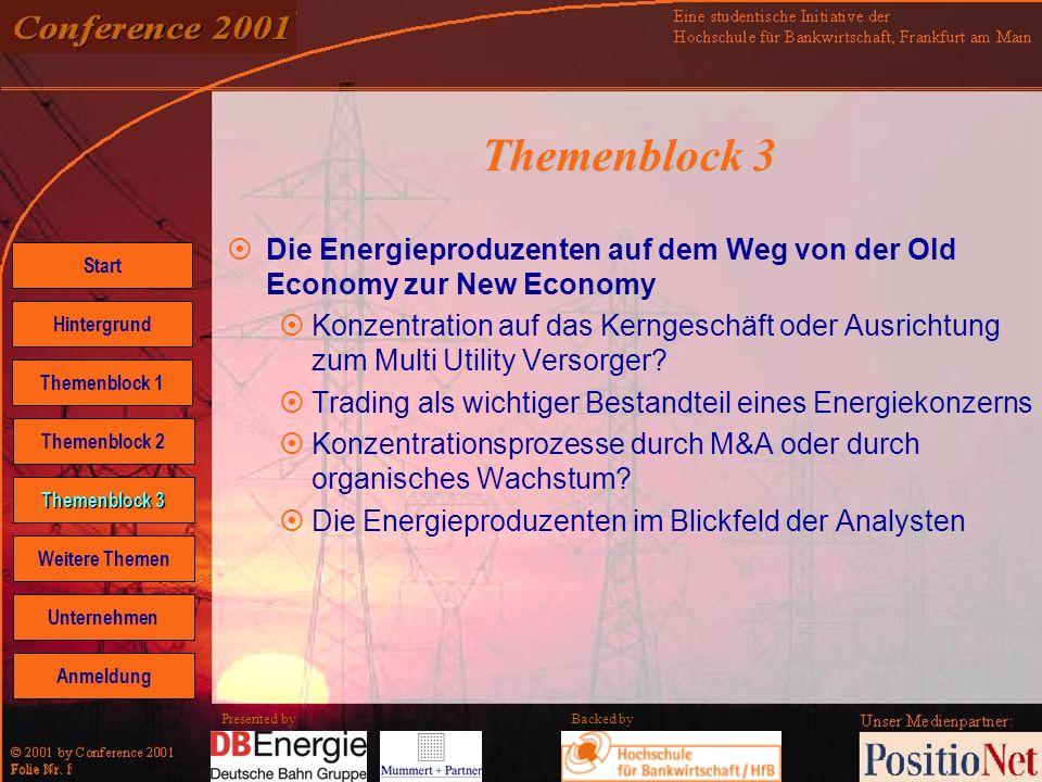 Backed by Folie Nr. 5 Presented by Themenblock 3 Die Energieproduzenten auf dem Weg von der Old Economy zur New Economy Konzentration auf das Kerngesc