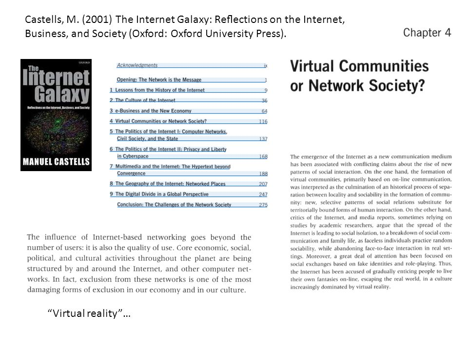 2001 Virtual reality… Castells, M.