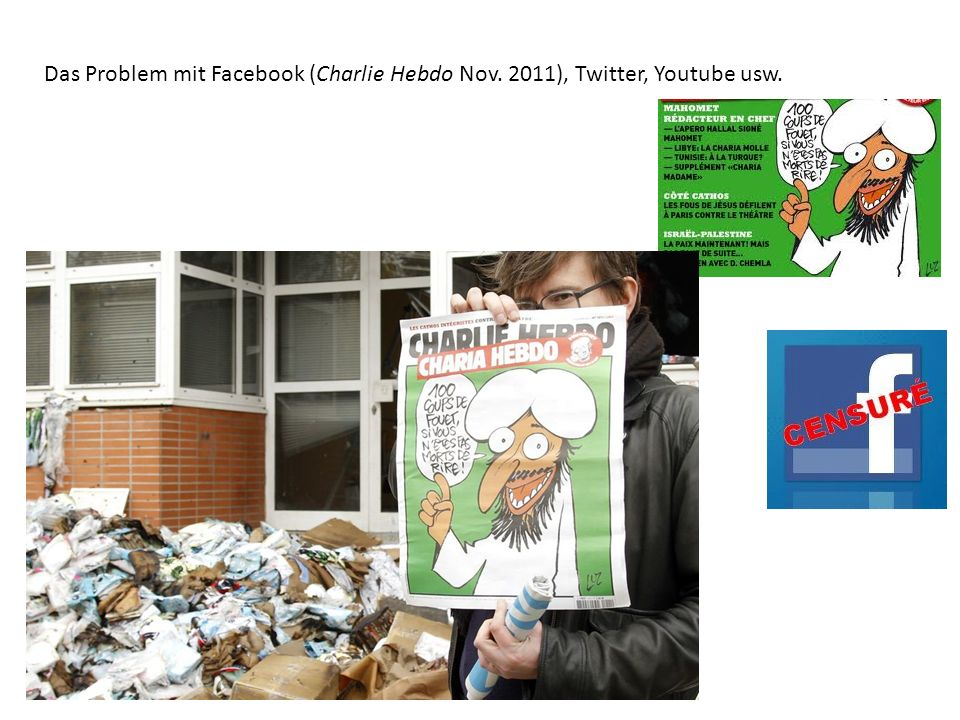 Das Problem mit Facebook (Charlie Hebdo Nov. 2011), Twitter, Youtube usw.