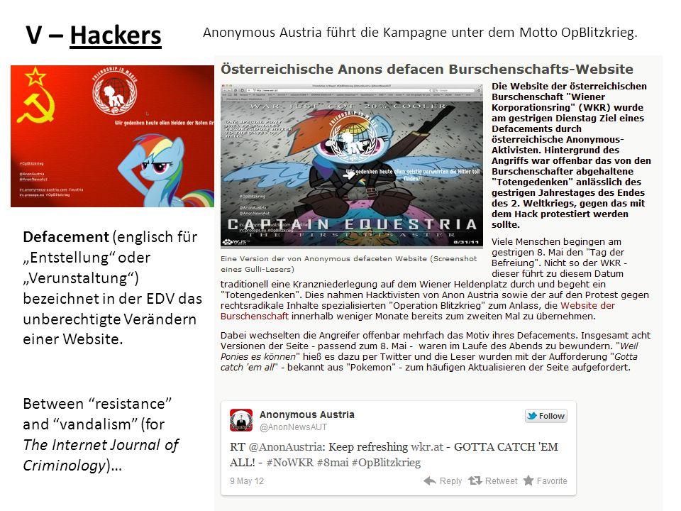 V – Hackers Defacement (englisch für Entstellung oder Verunstaltung) bezeichnet in der EDV das unberechtigte Verändern einer Website.