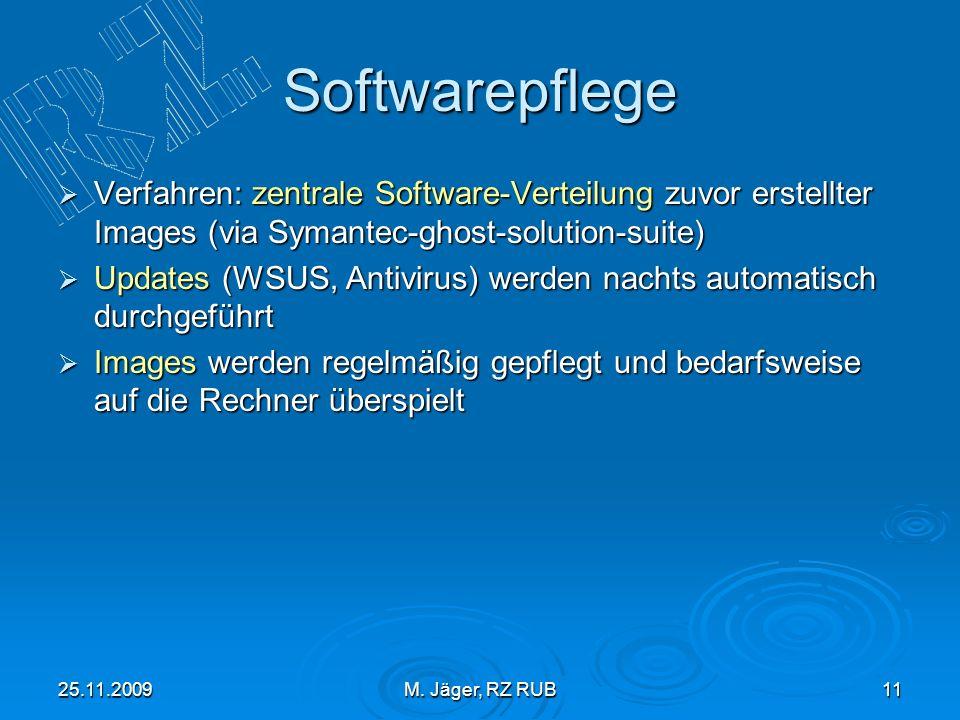 25.11.2009M. Jäger, RZ RUB11 Softwarepflege Verfahren: zentrale Software-Verteilung zuvor erstellter Images (via Symantec-ghost-solution-suite) Verfah