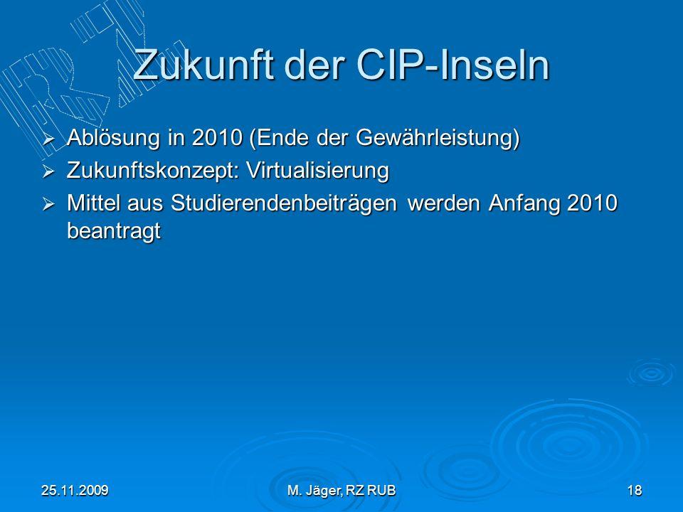 25.11.2009M. Jäger, RZ RUB18 Zukunft der CIP-Inseln Ablösung in 2010 (Ende der Gewährleistung) Ablösung in 2010 (Ende der Gewährleistung) Zukunftskonz