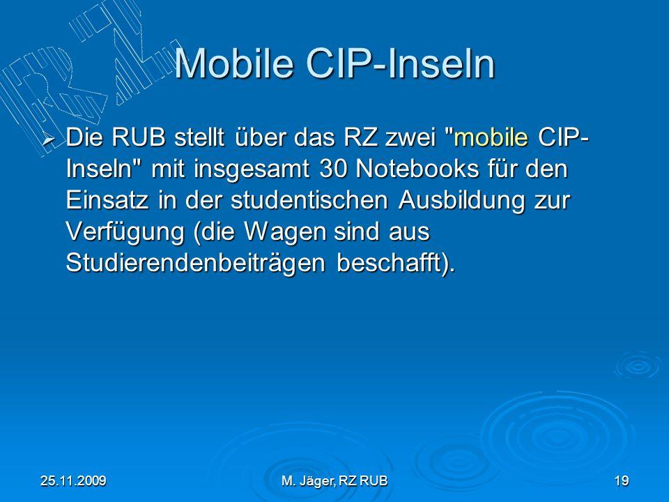 25.11.2009M. Jäger, RZ RUB19 Mobile CIP-Inseln Die RUB stellt über das RZ zwei