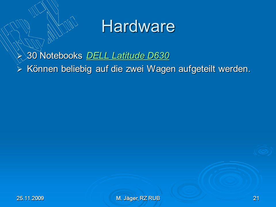25.11.2009M. Jäger, RZ RUB21 Hardware 30 Notebooks DELL Latitude D630 30 Notebooks DELL Latitude D630DELL Latitude D630DELL Latitude D630 Können belie